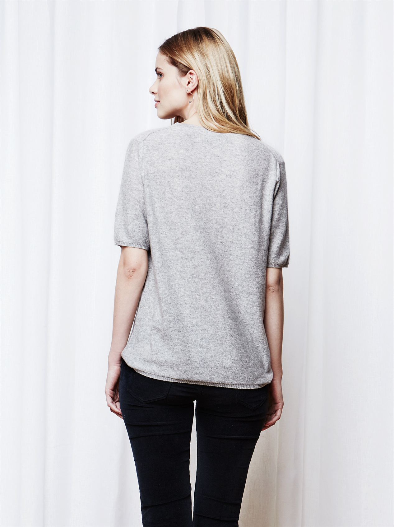 Soft Goat Women's Fine Knit T-Shirt Ljusgrå