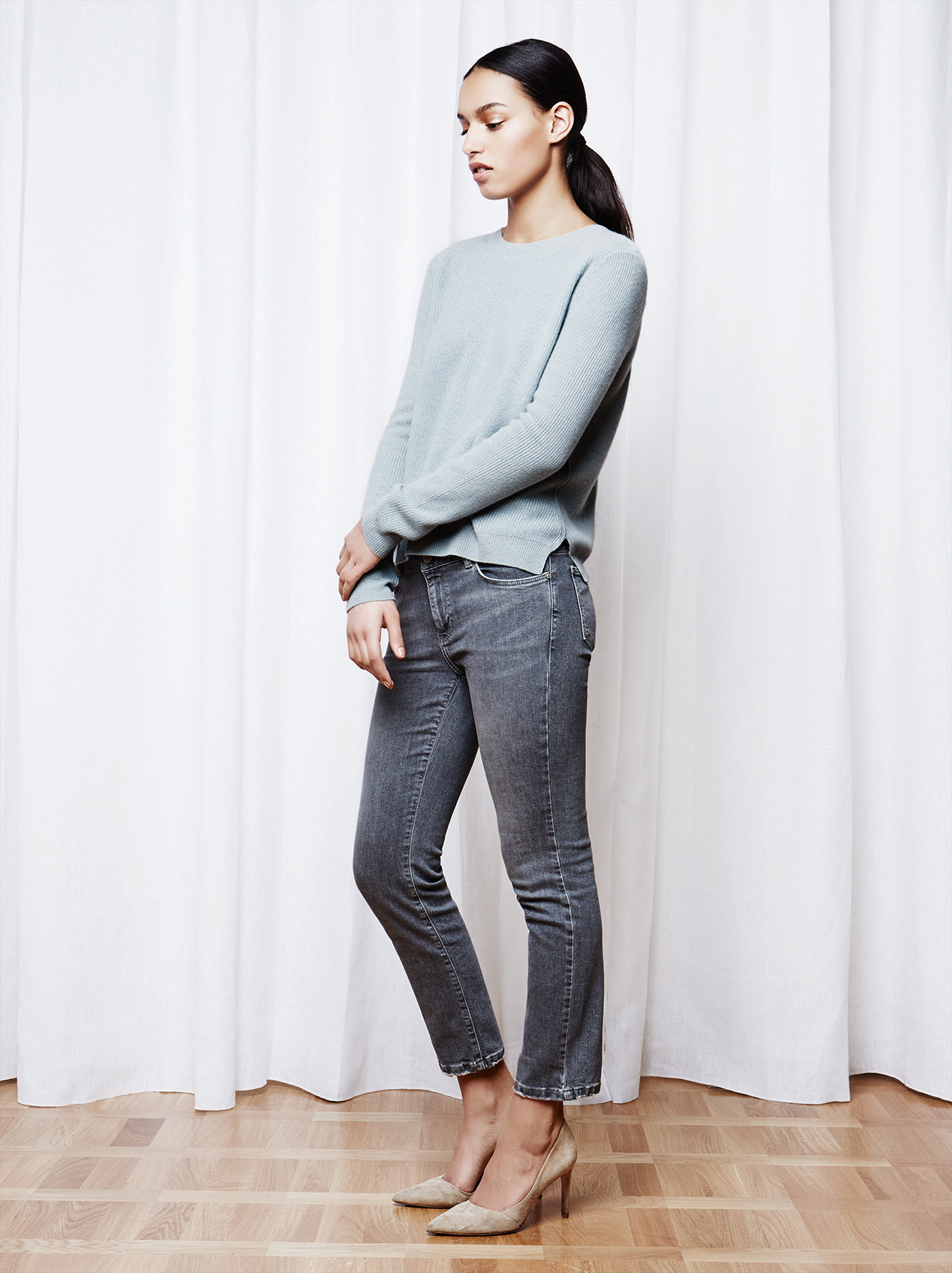 Soft Goat Women's Ribbed Sweater Sage