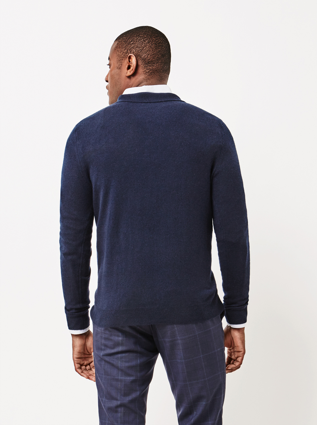 Soft Goat Men's Collar Cardigan Navy